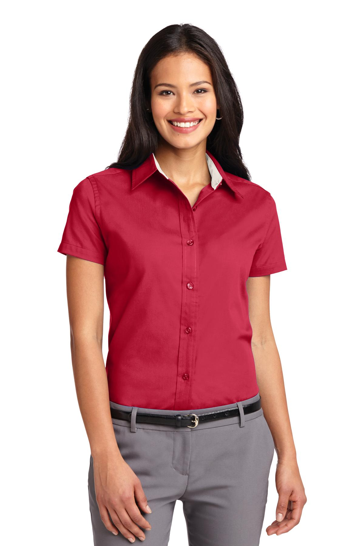 Red / Light Stone Port Authority Ladies Short Sleeve Easy Care Shirt.