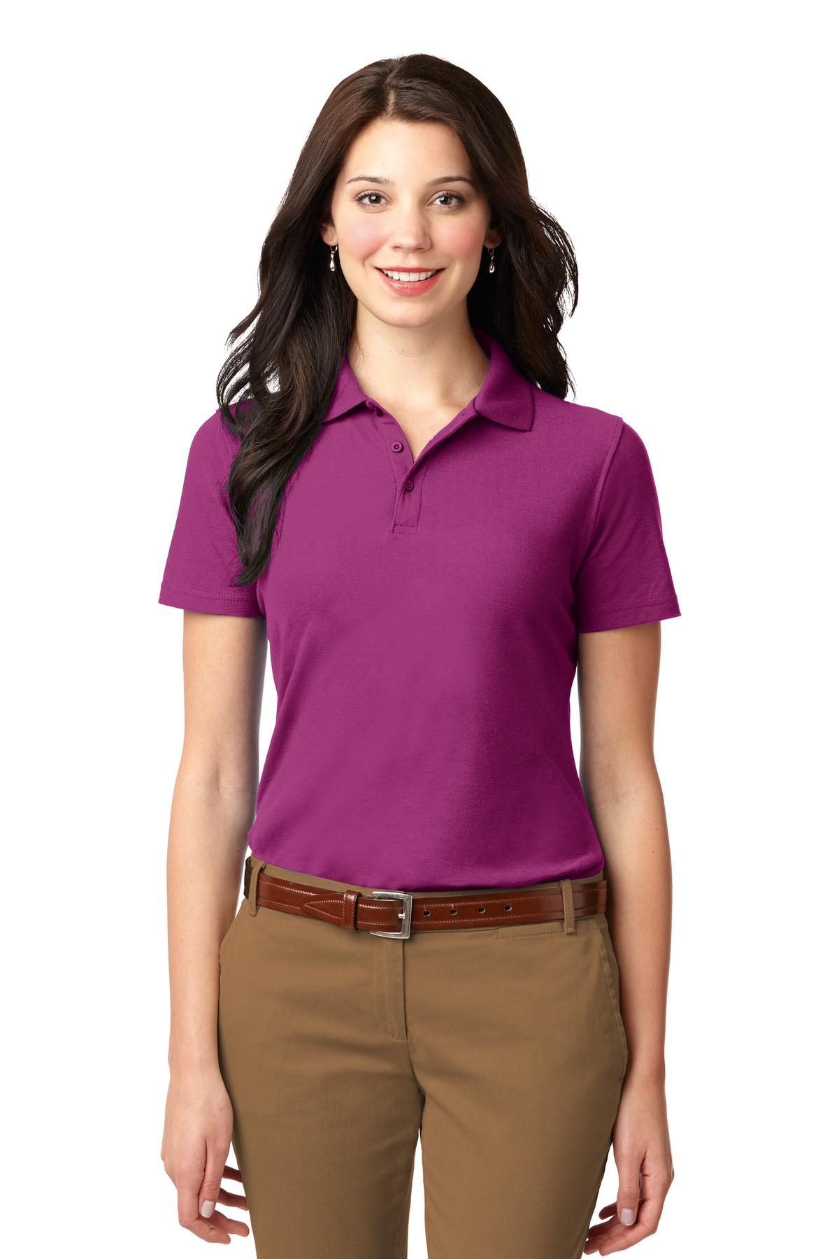 Navy Port Authority Ladies Silk Touch Performance Polo.