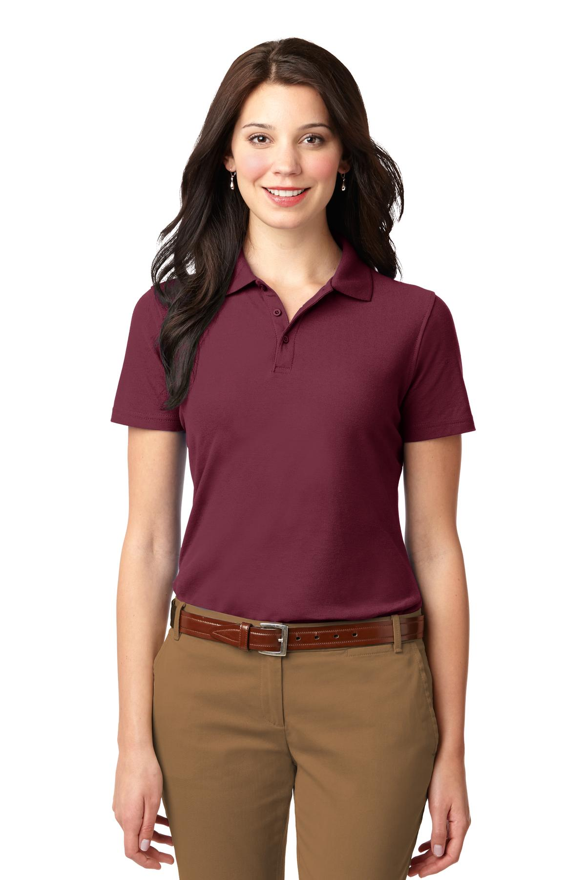 Lime Port Authority Ladies Silk Touch Performance Polo.