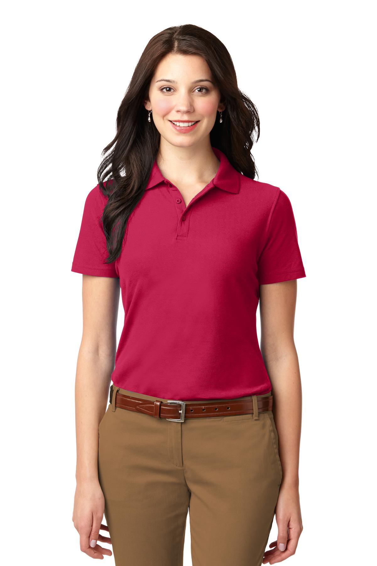Maroon Port Authority Ladies Silk Touch Performance Polo.