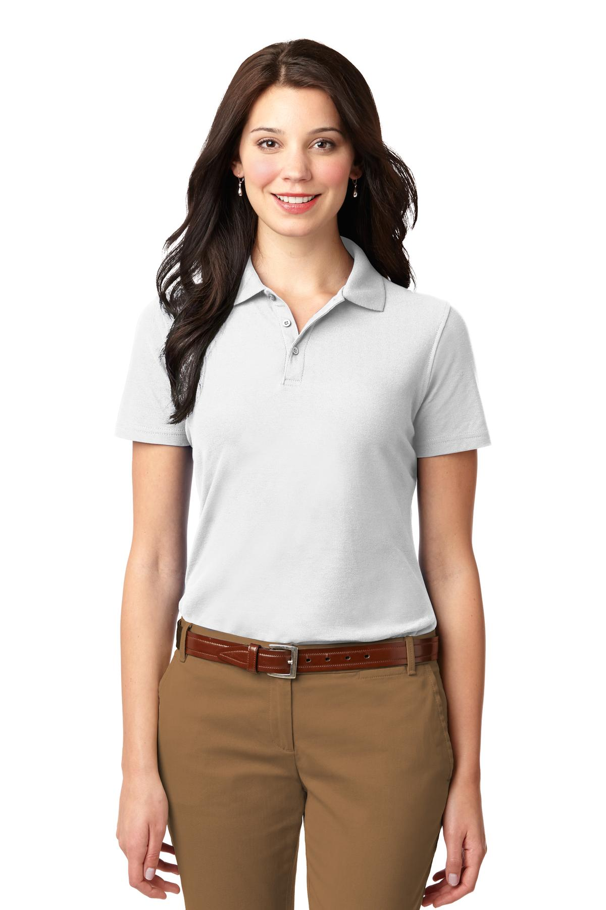 Brilliant Blue Port Authority Ladies Silk Touch Performance Polo.