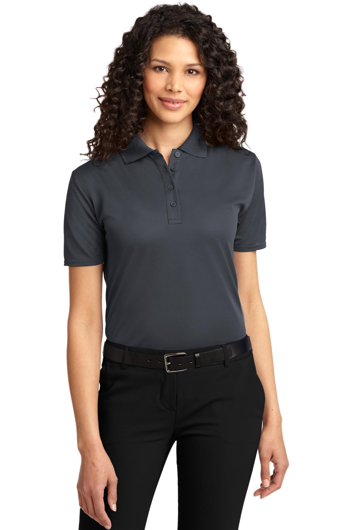 Steel Grey Port Authority Ladies Silk Touch Performance Polo.