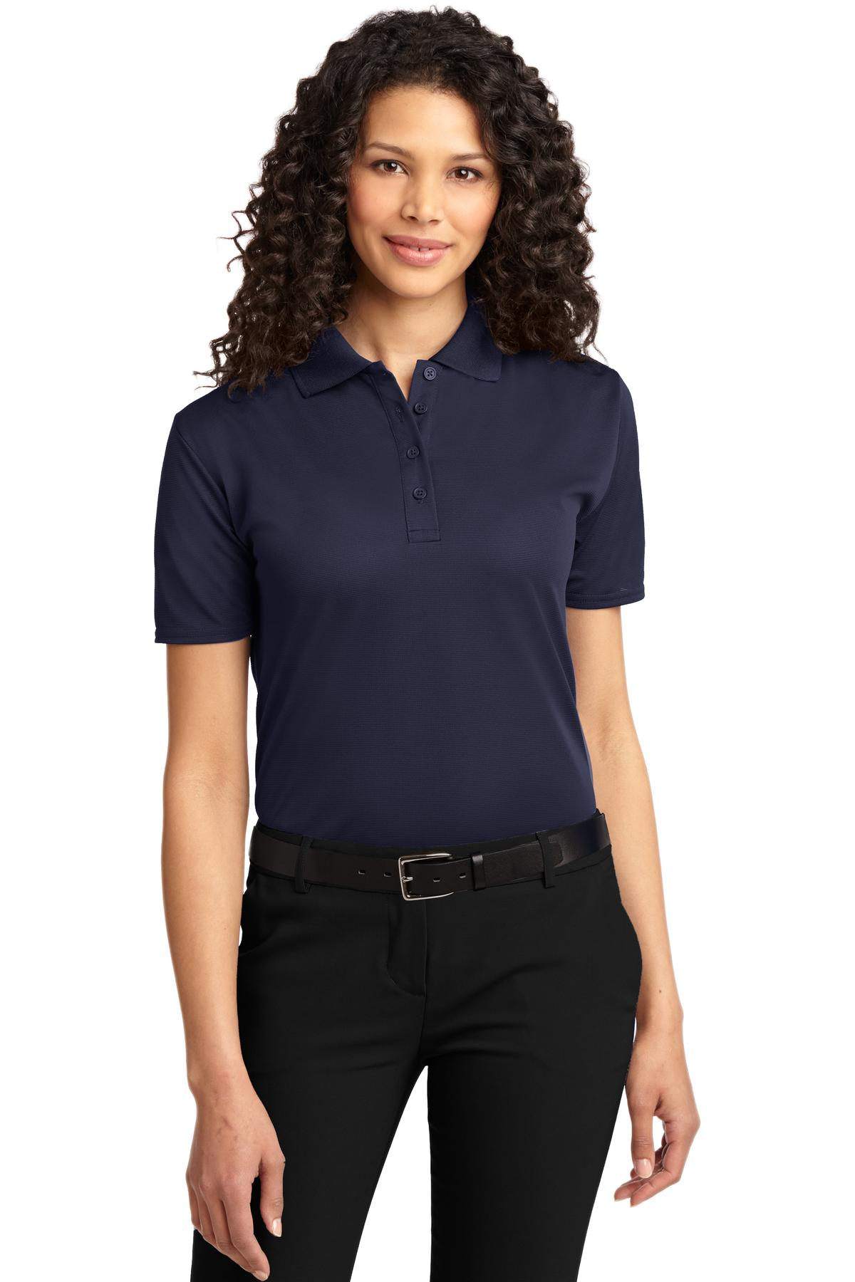 Neon Orange Port Authority Ladies Silk Touch Performance Polo.