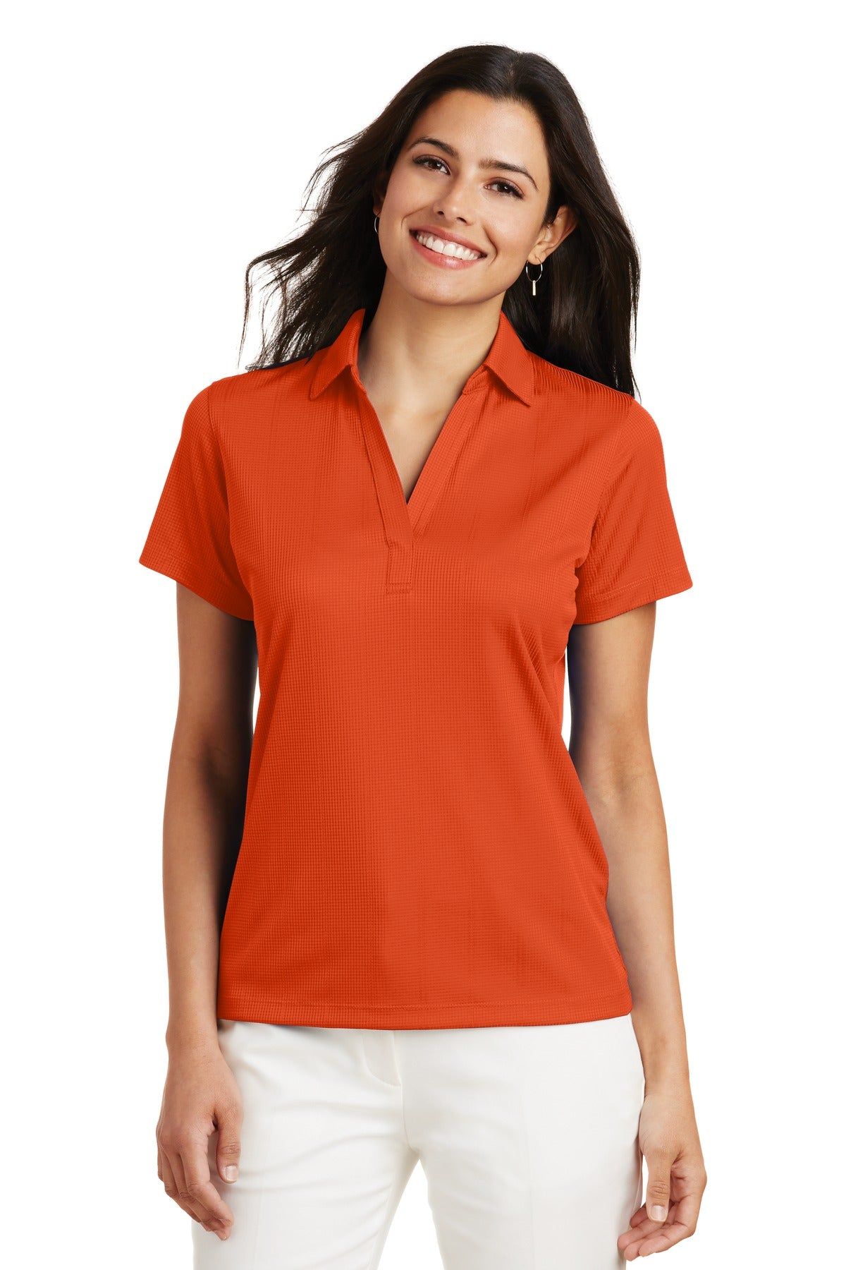 Red Port Authority ® Ladies Silk Touch Performance Long Sleeve Polo.