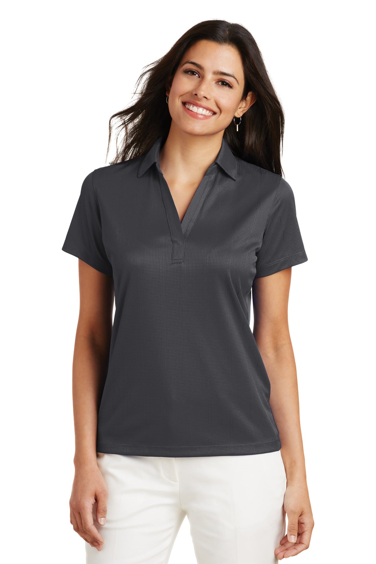 Steel Grey Port Authority ® Ladies Silk Touch Performance Long Sleeve Polo.