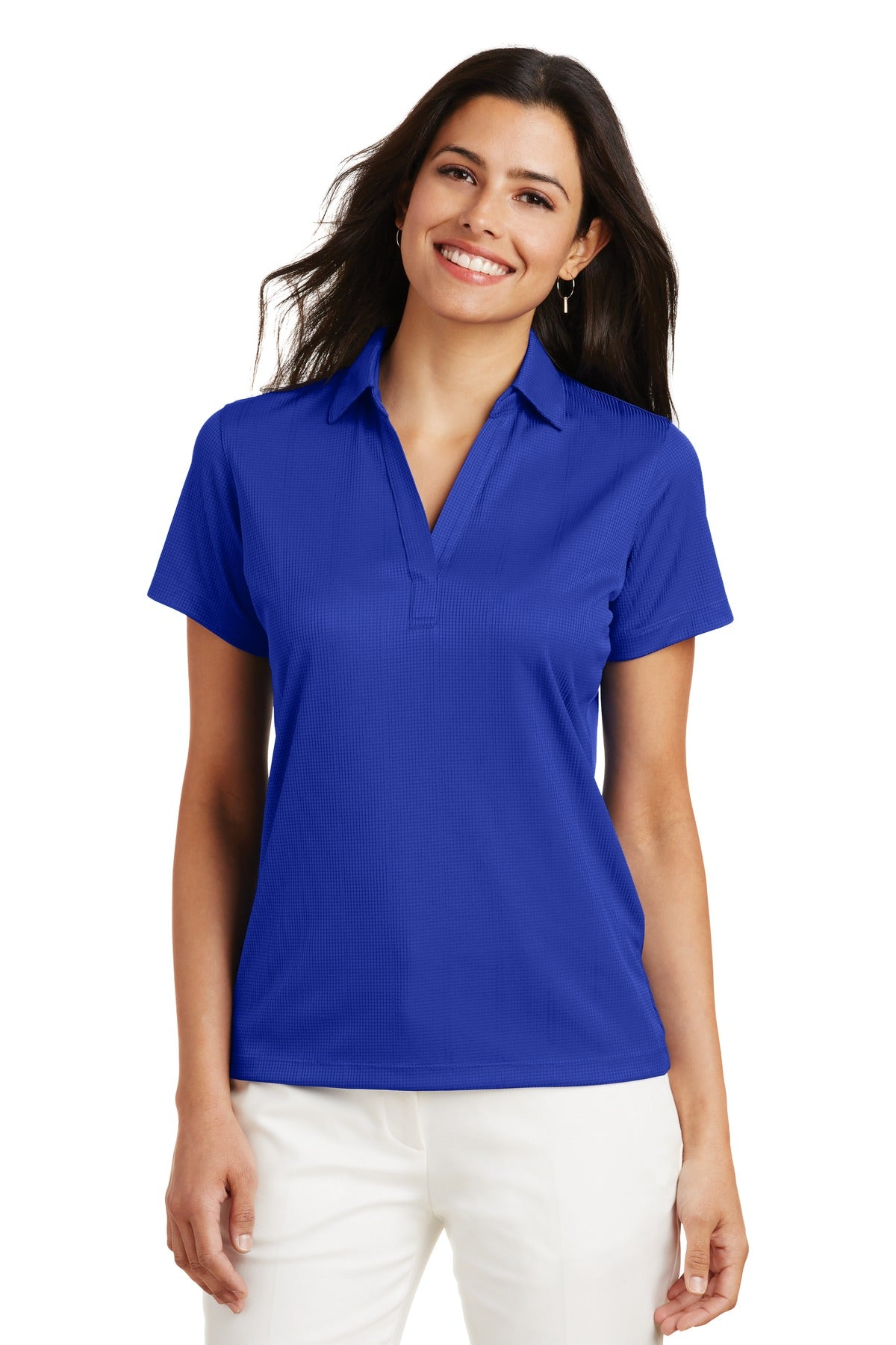 Carolina Blue Port Authority Ladies Silk Touch Performance Polo.