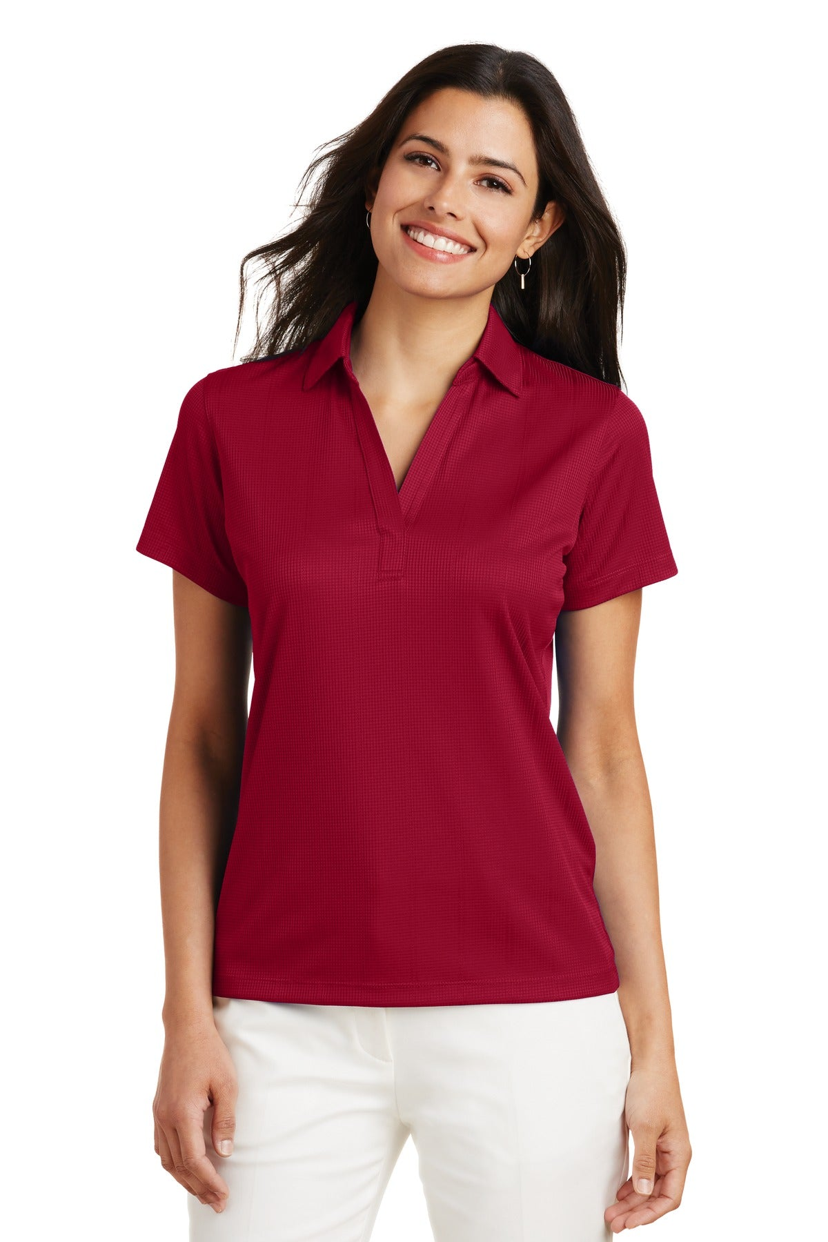 White Port Authority Ladies Silk Touch Performance Polo.
