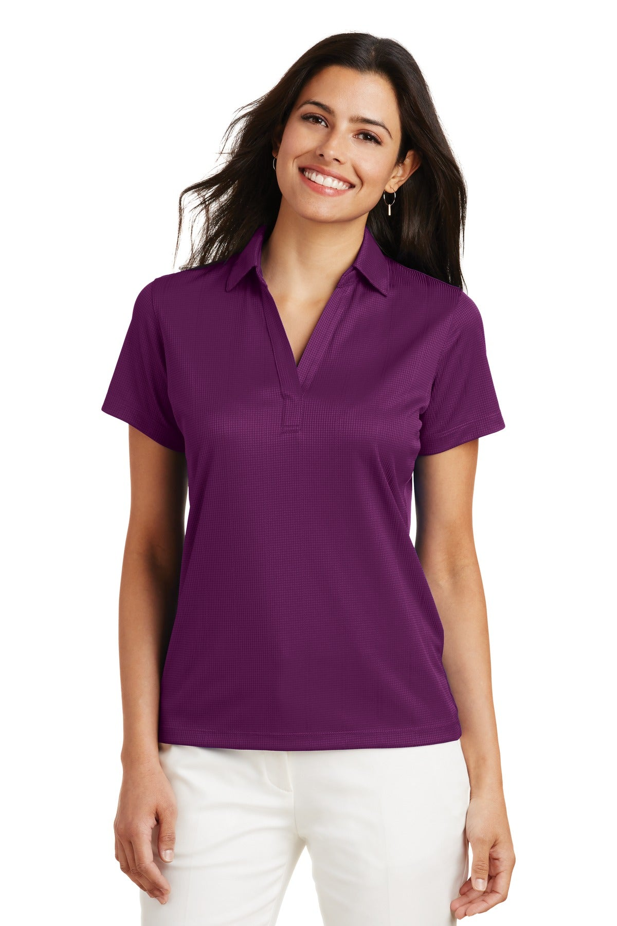 Carolina Blue Port Authority ® Ladies Silk Touch Performance Long Sleeve Polo.