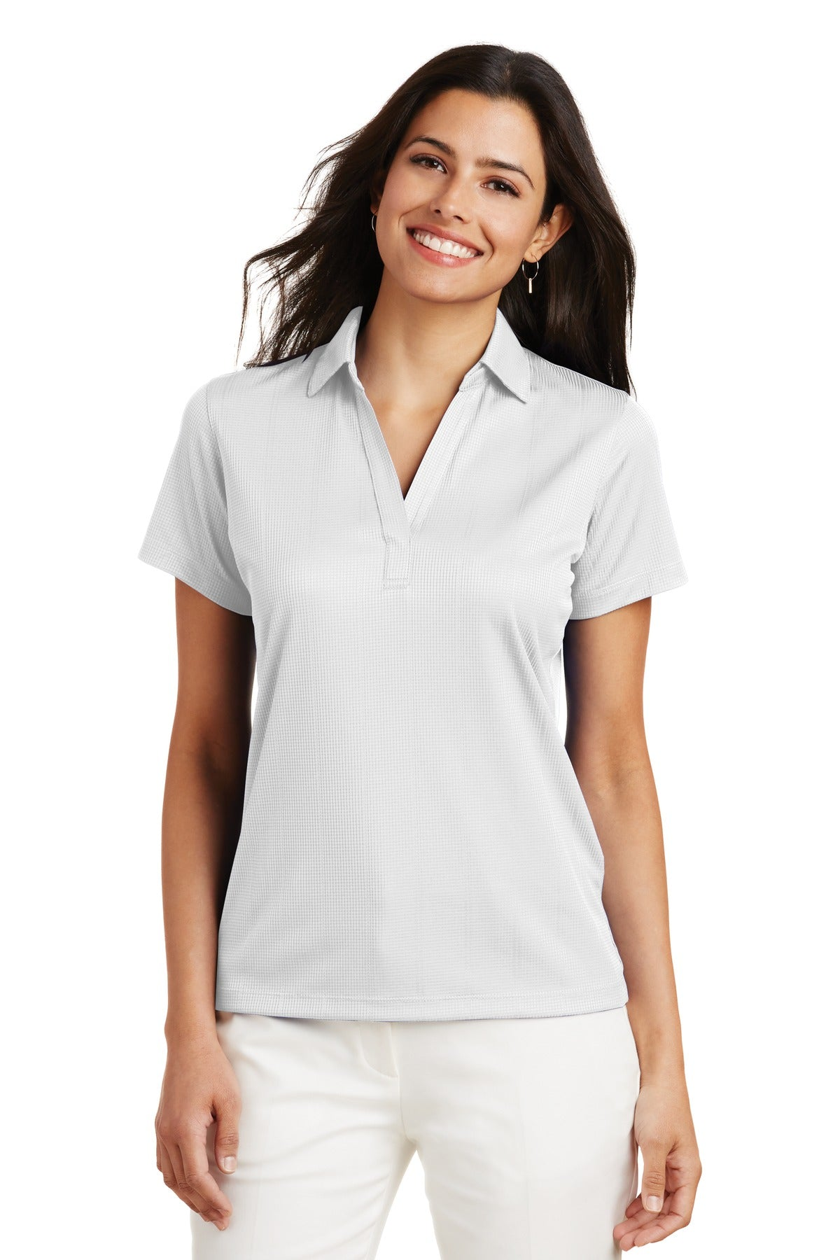 Navy Port Authority ® Ladies Silk Touch Performance Long Sleeve Polo.