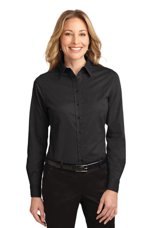 Steel Grey / Light Stone Port Authority Ladies Long Sleeve Easy Care Shirt.