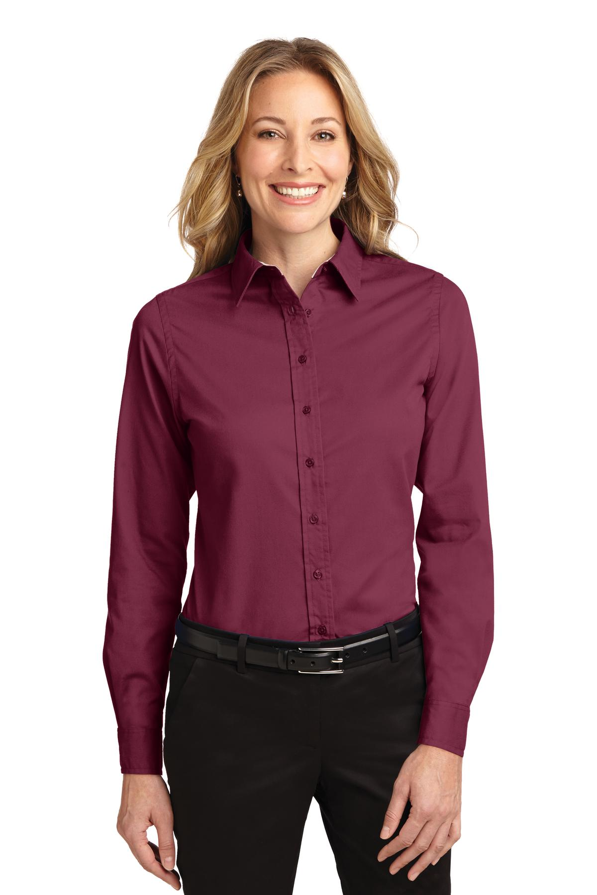 Burgundy / Light Stone Port Authority Ladies Long Sleeve Easy Care Shirt.