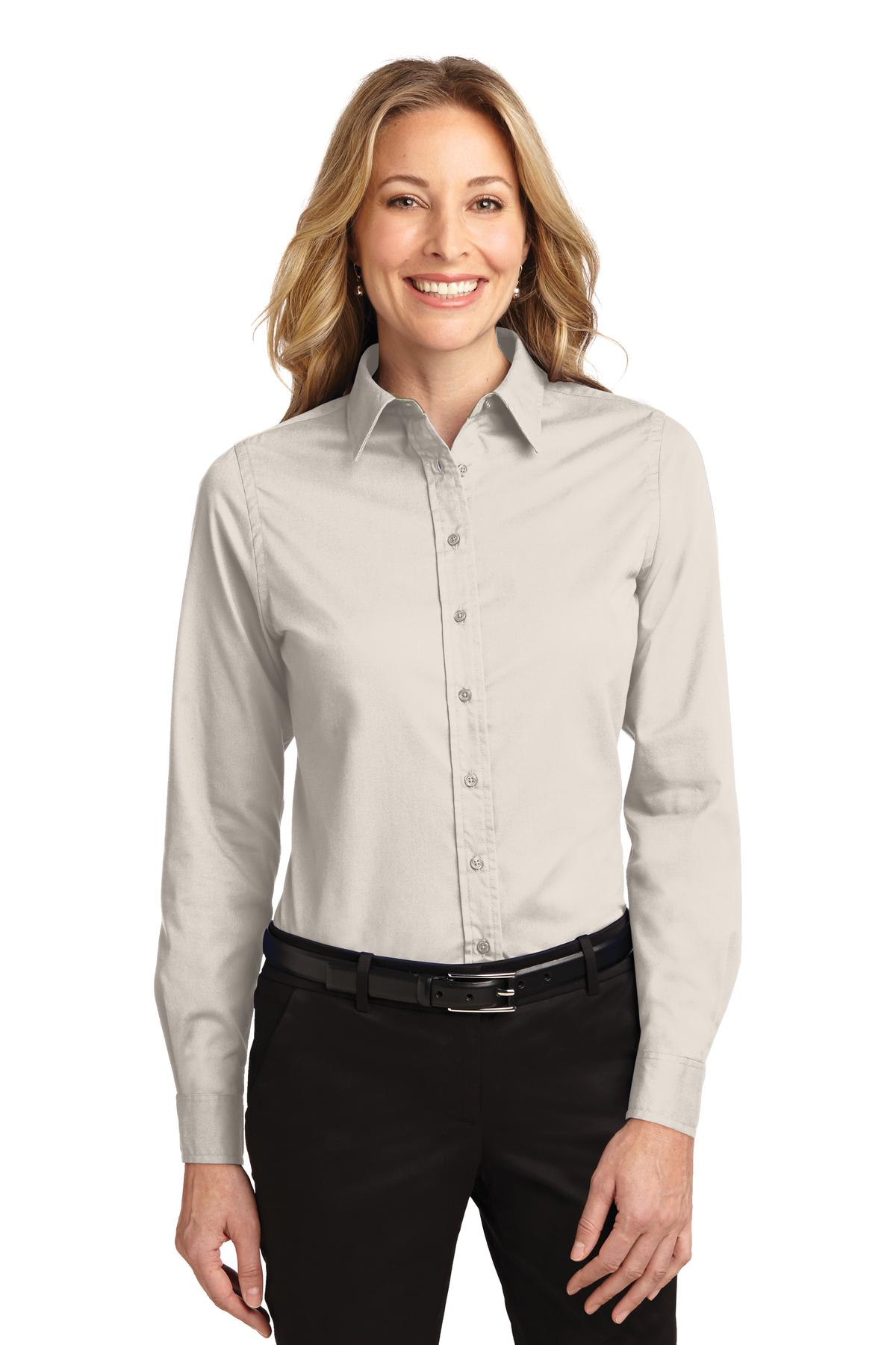 Light Stone / Classic Navy Port Authority Ladies Long Sleeve Easy Care Shirt.