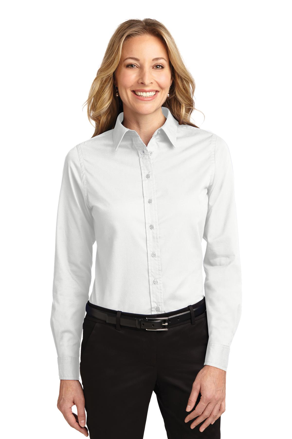 White / Light Stone Port Authority Ladies Long Sleeve Easy Care Shirt.