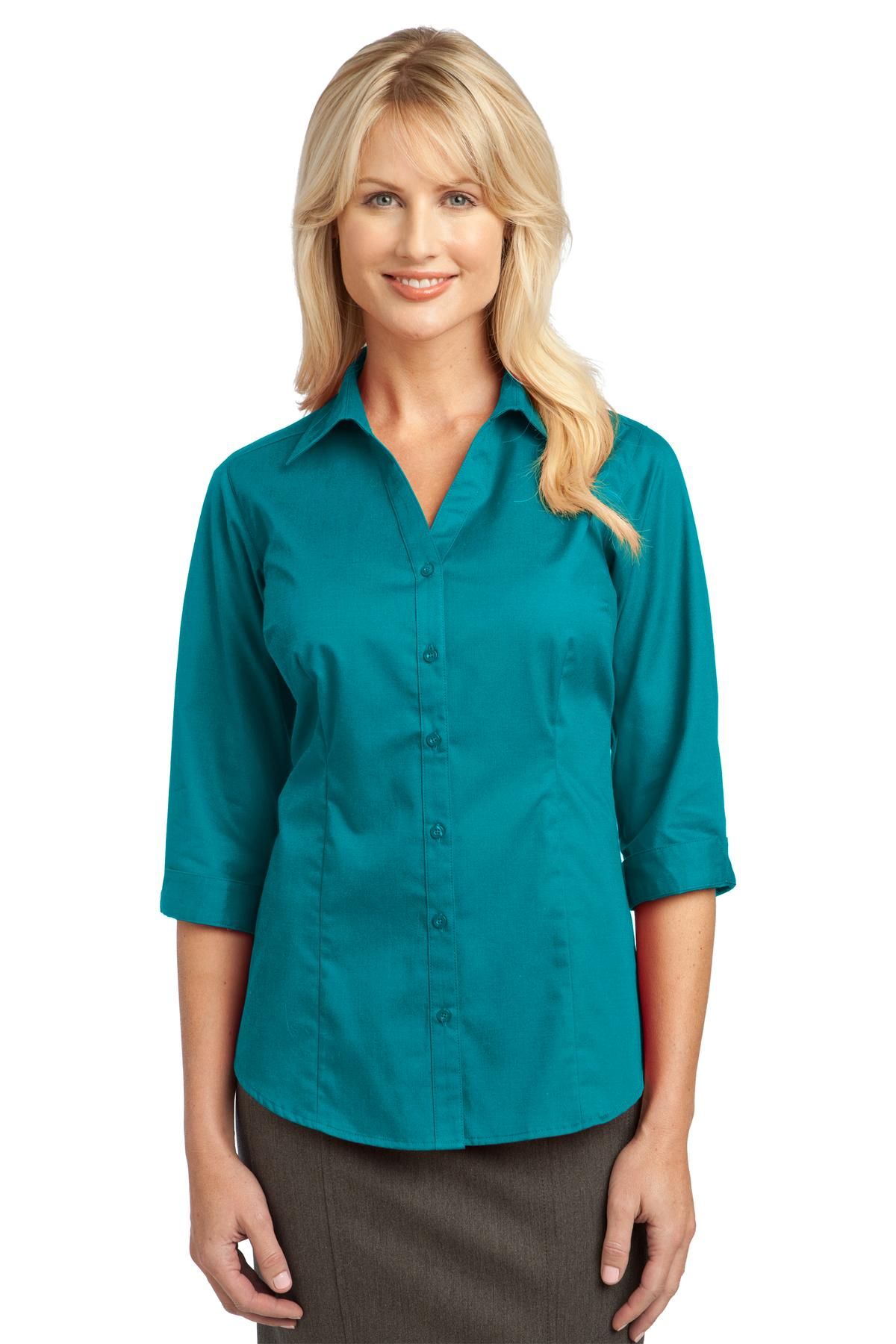 Black Port Authority ® Ladies UV Choice Pique Henley