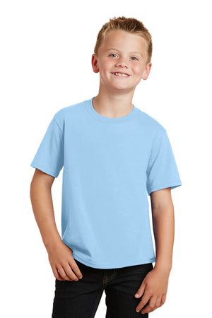 Light Blue Port & Company Youth Fan Favorite T-Shirt