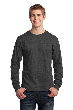 Dark Heather Grey Port & Company - Long Sleeve Core Cotton T-Shirt