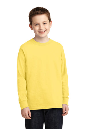 Yellow Port & Company Youth Long Sleeve Core Cotton T-Shirt