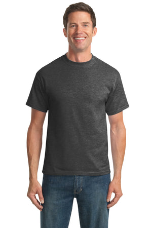 Dark Heather Grey Port & Company Tall Core Blend T-Shirt