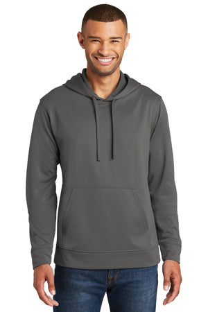 Charcoal Port & Company Performance Fleece Pullover Hooded Sweatshirt.