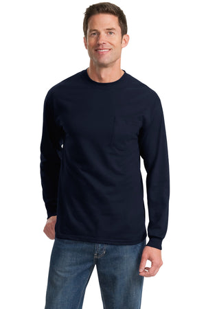 Navy Port & Company - Long Sleeve Essential Pocket T-Shirt