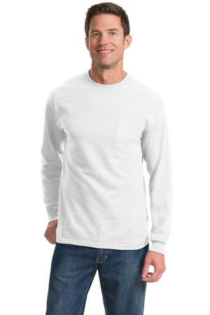 White Port & Company Tall Long Sleeve Essential Pocket T-Shirt