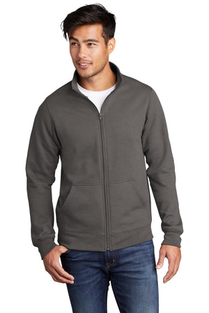 Charcoal Port & Company Core Fleece Cadet Full-Zip Sweatshirt