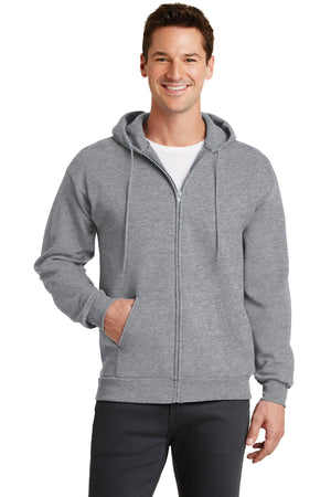 Athletic Heather Port & Company - Core Fleece Full-Zip Hooded Sweatshirt.