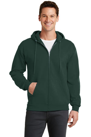 Dark Green Port & Company - Core Fleece Full-Zip Hooded Sweatshirt.