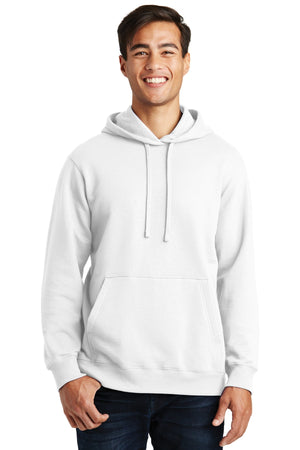 White Port & Company Fan Favorite Fleece Pullover Hooded Sweatshirt.