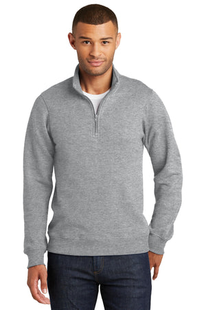 Athletic Heather Port & Company Fan Favorite Fleece 1/4-Zip Pullover Sweatshirt.