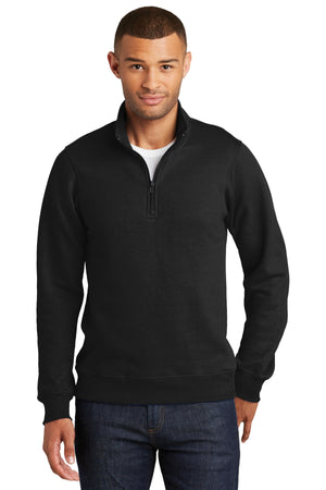 Jet Black Port & Company Fan Favorite Fleece 1/4-Zip Pullover Sweatshirt.