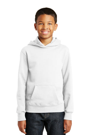 White Port & Company Youth Fan Favorite Fleece Pullover Hooded Sweatshirt.