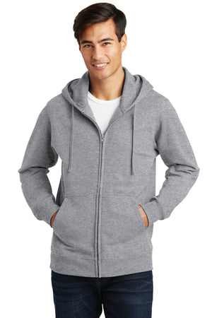 Athletic Heather Port & Company Fan Favorite Fleece Full-Zip Hooded Sweatshirt.