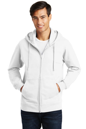 White Port & Company Fan Favorite Fleece Full-Zip Hooded Sweatshirt.