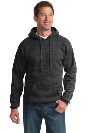 Dark Heather Grey Port & Company - Essential Fleece Pullover Hooded Sweatshirt.