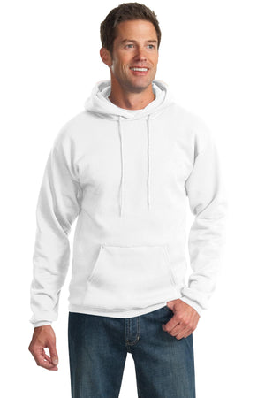 White Port & Company Tall Essential Fleece Pullover Hooded Sweatshirt.
