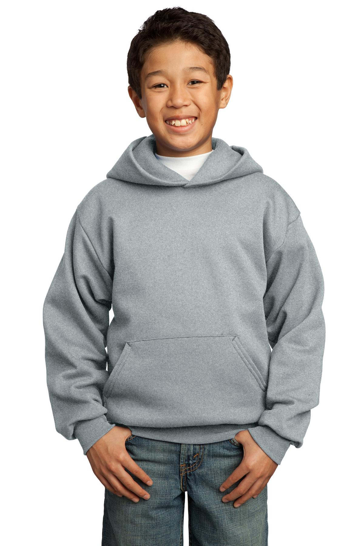 Athletic Heather Port & Company - Youth Core Fleece Pullover Hooded Sweatshirt.