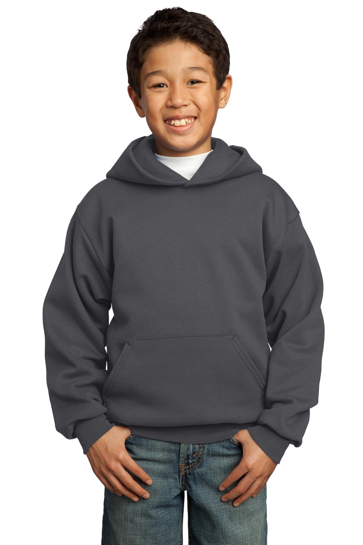 Charcoal Port & Company - Youth Core Fleece Pullover Hooded Sweatshirt.