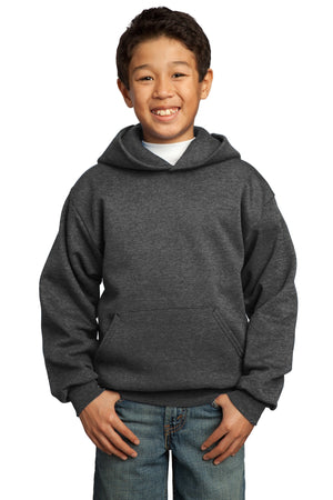 Dark Heather Grey Port & Company - Youth Core Fleece Pullover Hooded Sweatshirt.