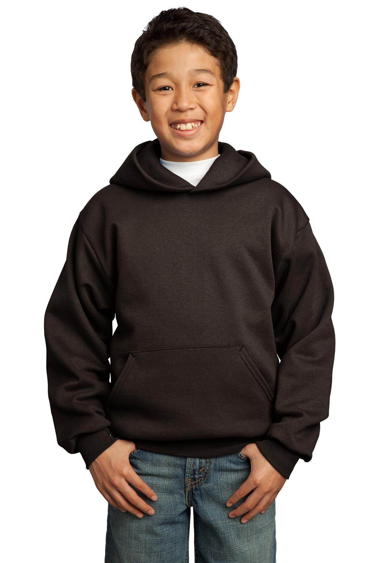 Dark Chocolate Brown Port & Company - Youth Core Fleece Pullover Hooded Sweatshirt.