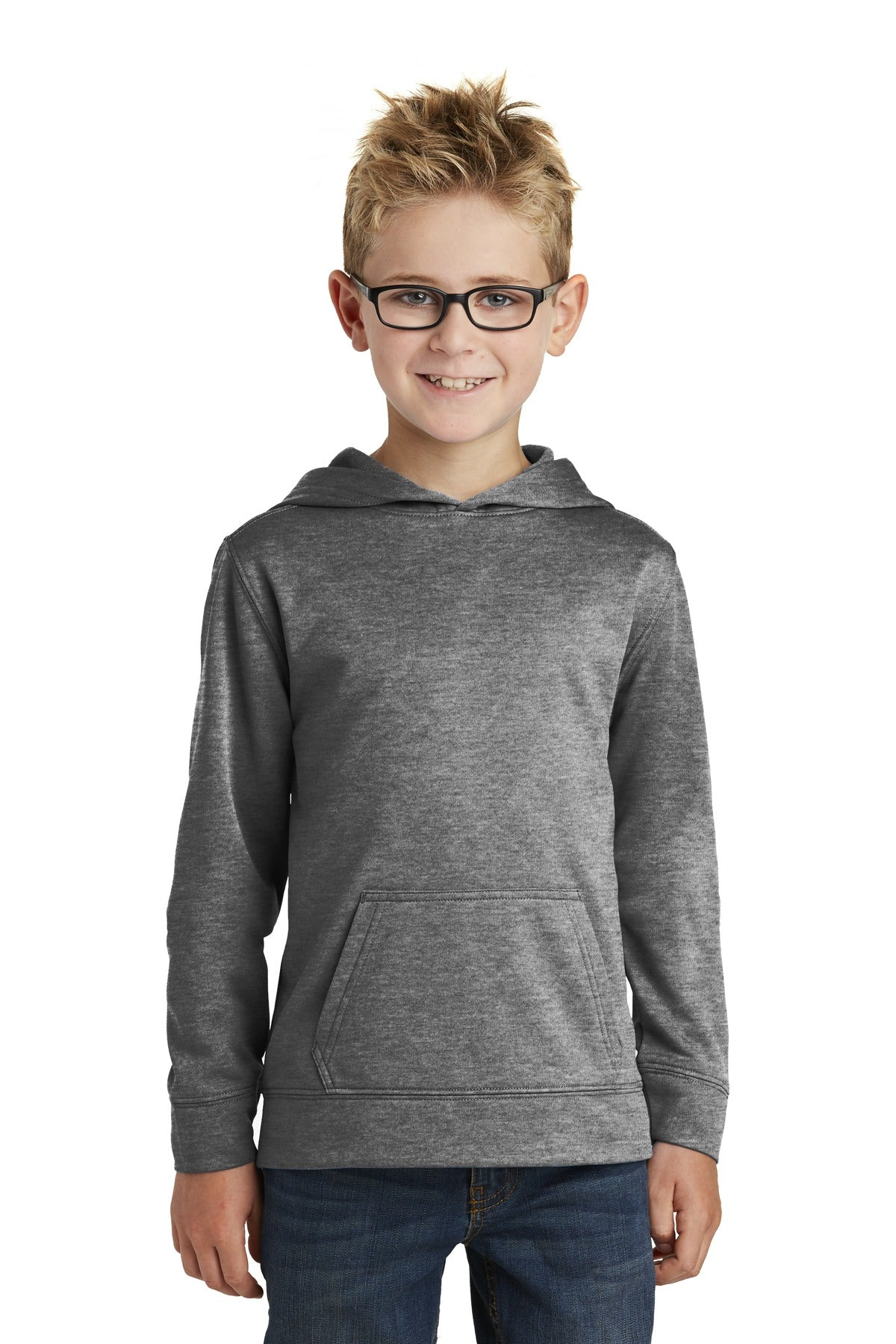 Graphite Heather Port & Company - Youth Core Fleece Pullover Hooded Sweatshirt.