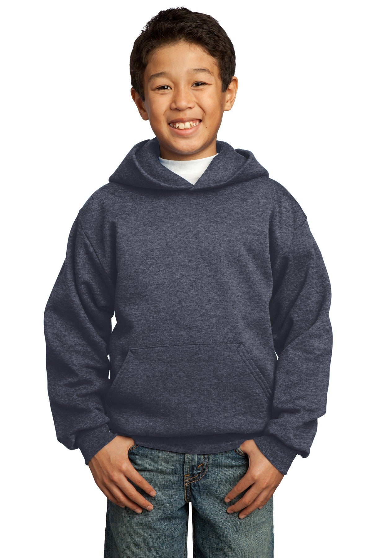 Heather Navy Port & Company - Youth Core Fleece Pullover Hooded Sweatshirt.