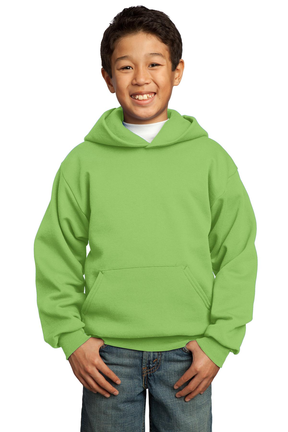 Lime Port & Company - Youth Core Fleece Pullover Hooded Sweatshirt.