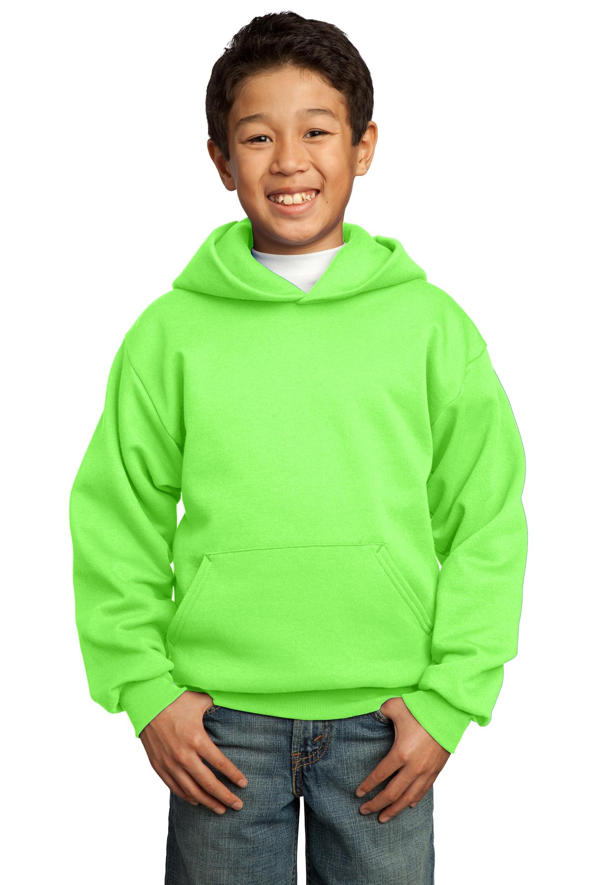 Neon Green Port & Company - Youth Core Fleece Pullover Hooded Sweatshirt.