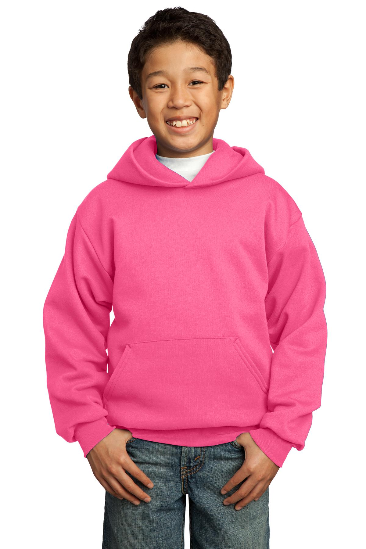 Neon Pink Port & Company - Youth Core Fleece Pullover Hooded Sweatshirt.