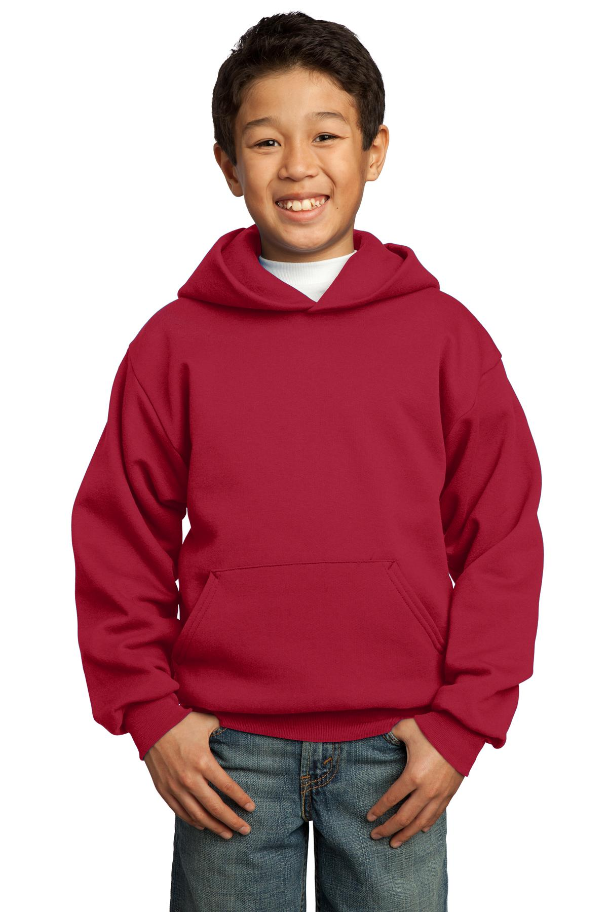 Red Port & Company - Youth Core Fleece Pullover Hooded Sweatshirt.