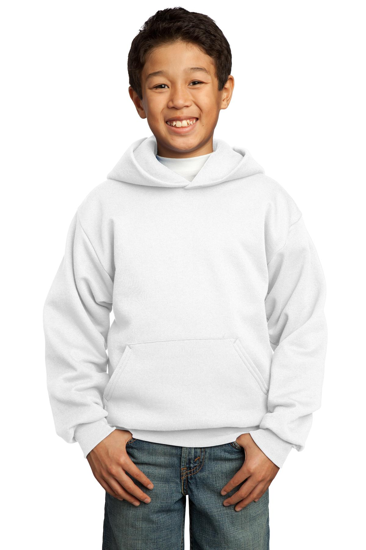 White Port & Company - Youth Core Fleece Pullover Hooded Sweatshirt.