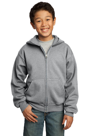 Athletic Heather Port & Company - Youth Core Fleece Full-Zip Hooded Sweatshirt.