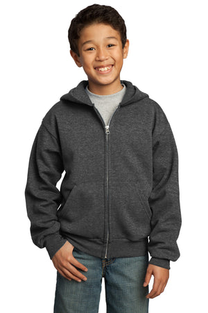 Dark Heather Grey Port & Company - Youth Core Fleece Full-Zip Hooded Sweatshirt.