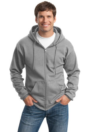 Athletic Heather Port & Company Tall Essential Fleece Full-Zip Hooded Sweatshirt.
